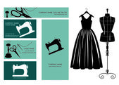 Business cards design, dress and dressmakers dummy. — Stock Vector