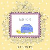 Baby Boy Shower  card with  turtle — Stock Vector