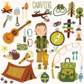 Camping equipment with Camping boy — Stock Vector