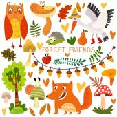 Woodland and Forest Animals. — Vecteur