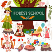 Woodland and Forest Animals in School. — Vettoriale Stock