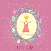 Baby Girl Shower and Arrival Card — Stock Vector