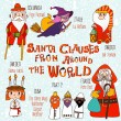 Santa Clauses from Around the World. — Stock Vector #58284221