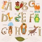 Cute animal alphabet. — Stock Vector