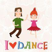 I love dance card — ストックベクタ