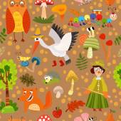 Pattern with forest animals — Stock Vector