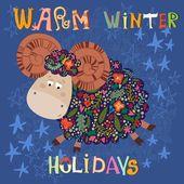 Зимние праздники карта с овцами — Cтоковый вектор