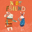 Best Friend  card with rabbits — Stock Vector #59963743