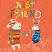 Best Friend  card with rabbits — Stock Vector