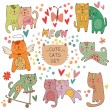 Romantic card with cats — ストックベクタ #65424695