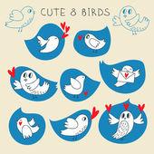 Синий щебет птиц set — Cтоковый вектор