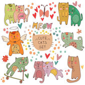 Romantic card with cats — Stockvector