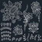 Mehndi Tattoo Doodles Set 2- Abstract Floral Illustration Design — Stock Vector #80022528