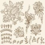 Mehndi Tattoo Doodles Set 2- Abstract Floral Illustration Design — Stock Vector #80022718