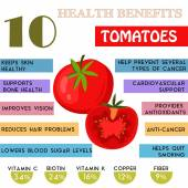 10 Health benefits information of Tomatoes. Nutrients infographi — Stock Vector