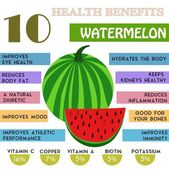 10 Health benefits information of Watermelon. Nutrients infograp — Stock Vector