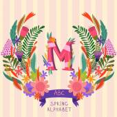 The letter M. Floral hand drawn monogram made of flowers and lea — Stock Vector