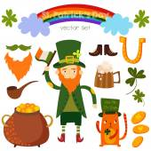 Beautiful St. Patrick's set in vector. Stylish bright concept el — Stock Vector