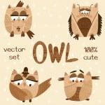 Cute Owls Doodle Collection. — Stok Vektör #83761354