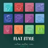 Cartoon flat icons Weather Part — Stock Vector