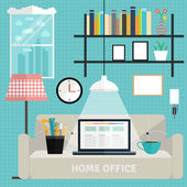 Set of flat home office concepts. — Wektor stockowy