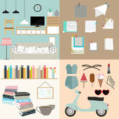 Set of concept vintage icons. — Stock Vector