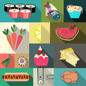 Set if flat food icons. — Stock Vector