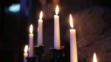 Belle candele bianche — Video Stock