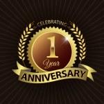 Celebrating 1 Year Anniversary, Golden Laurel Wreath Seal with Golden Ribbon — Stock Vector #52400387