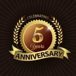 Celebrating 5 Years Anniversary, Golden Laurel Wreath Seal with Golden Ribbon — Stock Vector #52401633