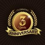 Celebrating 3 Years Anniversary, Golden Laurel Wreath Seal with Golden Ribbon — Stock Vector #52402713