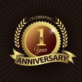 Celebrating 1 Year Anniversary, Golden Laurel Wreath Seal with Golden Ribbon — Stock Vector