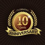 Celebrating 10 Years Anniversary, Golden Laurel Wreath Seal with Golden Ribbon — Stock Vector