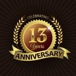 Celebrating 13 Years Anniversary, Golden Laurel Wreath Seal with Golden Ribbon — Stock Vector #52421785