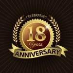 Celebrating 18 Years Anniversary, Golden Laurel Wreath Seal with Golden Ribbon — Stock Vector