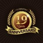 Celebrating 19 Years Anniversary, Golden Laurel Wreath Seal with Golden Ribbon — Stock Vector #52423761