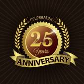 Celebrating 25 Years Anniversary, Golden Laurel Wreath Seal with Golden Ribbon — Vector de stock