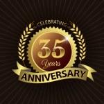 Celebrating 35 Years Anniversary, Golden Laurel Wreath Seal with Golden Ribbon — Stock Vector #52436003