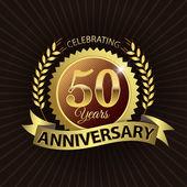Celebrating 50 Years Anniversary, Golden Laurel Wreath Seal with Golden Ribbon — Stock Vector