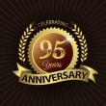 Celebrating 95 Years Anniversary, Golden Laurel Wreath Seal with Golden Ribbon — Stock Vector #52442535
