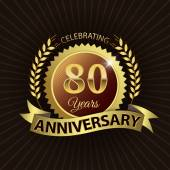Celebrating 80 Years Anniversary, Golden Laurel Wreath Seal with Golden Ribbon — Vector de stock