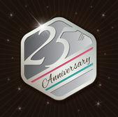 25th Anniversary badge design — Stock Vector