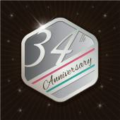 34th Anniversary - Classy and Modern silver emblem — Stock Vector