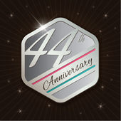 44th Anniversary - Classy and Modern silver emblem — Stock Vector