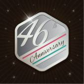 46th Anniversary - Classy and Modern silver emblem — Stock Vector