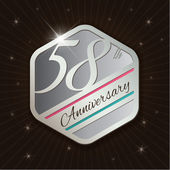 58th Anniversary - Classy and Modern silver emblem — Stock Vector
