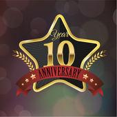 Anniversary golden star seal — 图库矢量图片