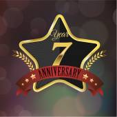 Anniversary golden star seal — Vettoriale Stock