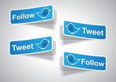 Follow and Tweet tags — 图库矢量图片