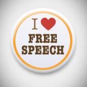 I love Free Speech Badge Button. — Stock Vector